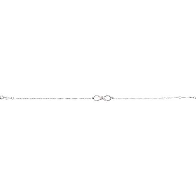 14K White 1/8 CTW Diamond Infinity 6 1/2-7 1/2