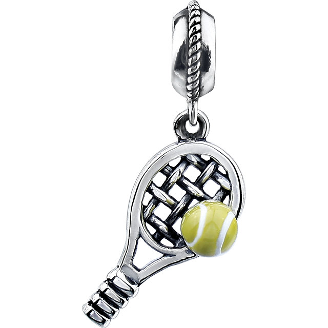 Sterling Silver 18x9.5 mm Kera Tennis Charm