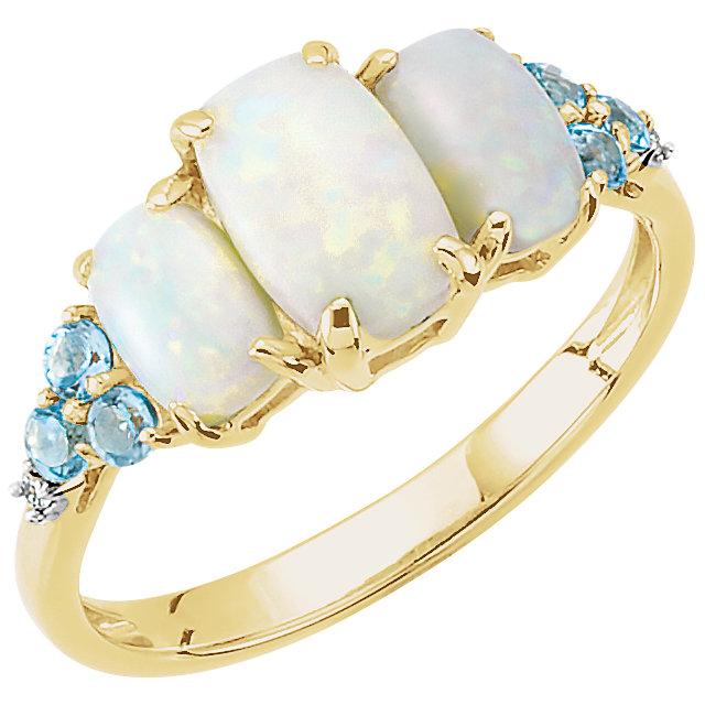 14K Yellow Opal, Swiss Blue Topaz, & .012 Diamond Ring