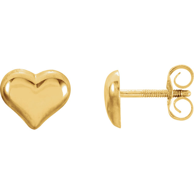 14K Yellow Puffed Heart Earrings