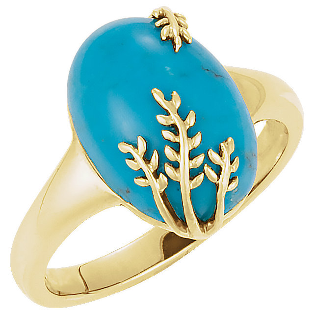 14K Yellow 14 x 10 mm Chinese Turquoise Leaf Design Ring