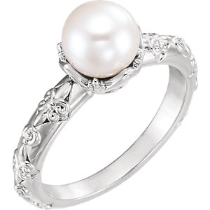 14K White Freshwater Cultured Pearl & .02 CTW Diamond Vintage-Inspired Ring