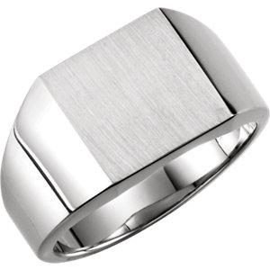 Fashion Rings , 18K Palladium White 14mm Men's Solid Signet Ring with Brush Finish