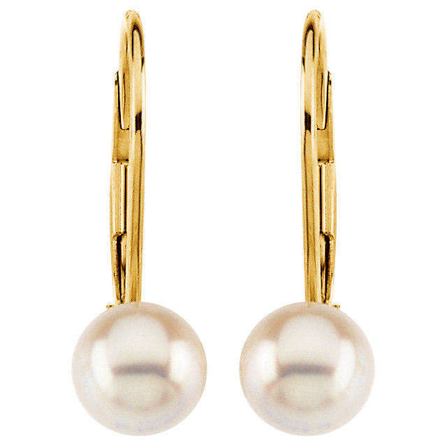 14K Yellow 7 mm Round Akoya Cultured Pearl Lever Back Earrings