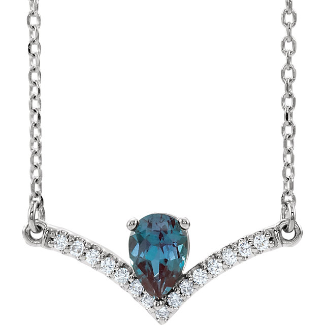 14K White Chatham® Lab-Created Alexandrite & .08 CTW Diamond 18