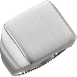 Fashion Rings , 18K Palladium White 16mm Men's Solid Signet Ring with Brush Finish