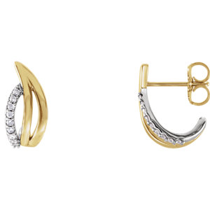 14K Yellow & White 1/10 CTW Diamond Freeform J-Hoop Earrings