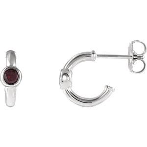 14K White Mozambique Garnet J-Hoop Earrings