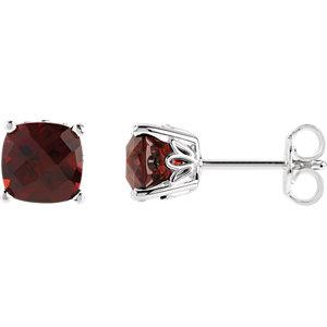 Sterling Silver Mozambique Garnet Earrings