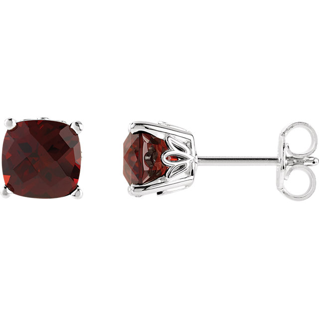 Sterling Silver Mozambique Garnet Earrings
