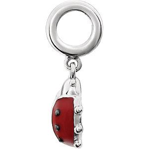 Sterling Silver 18.8x9.4mm Kera Ladybug Charm