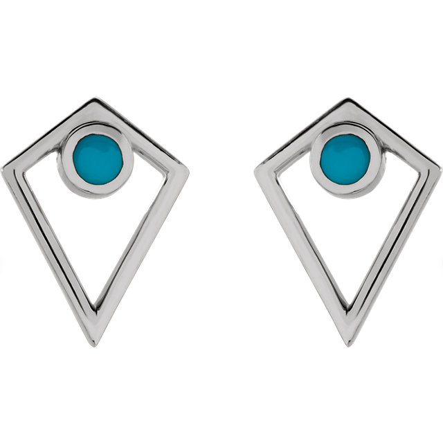 14K White Turquoise Cabochon Pyramid Earrings