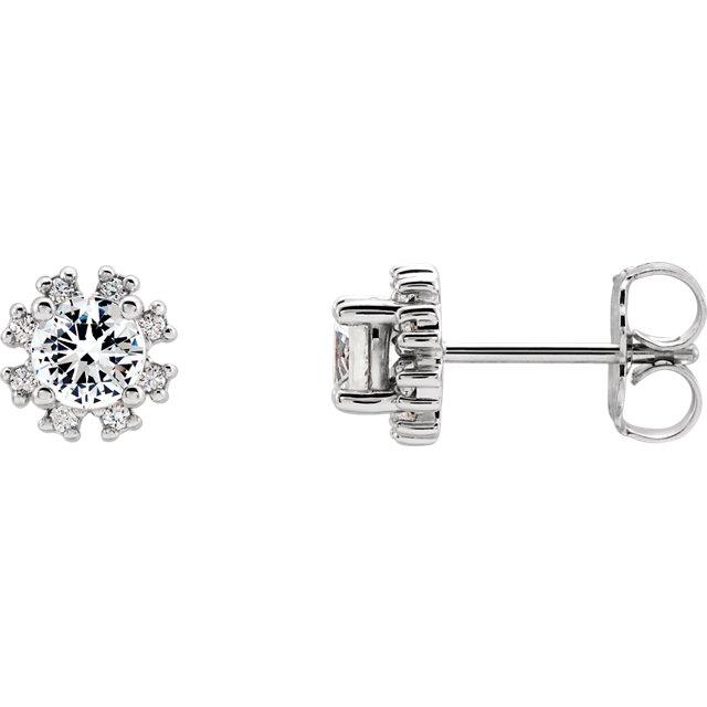 14K White Sapphire & .07 CTW Diamond Earrings