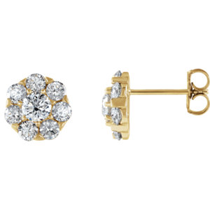 Earrings , 14K Yellow 2 CTW Diamond Cluster Earrings