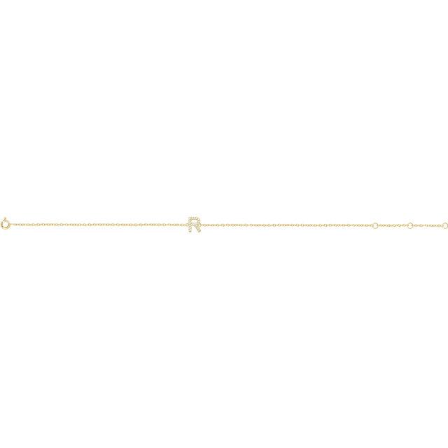 14K Yellow .06 CTW Diamond Initial R 6-7