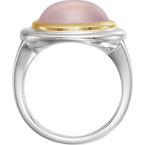 Sterling Silver & 14K Yellow Rose Quartz Ring