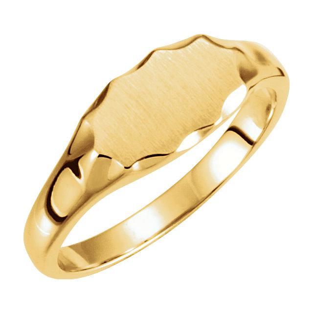 14K White Signet Ring