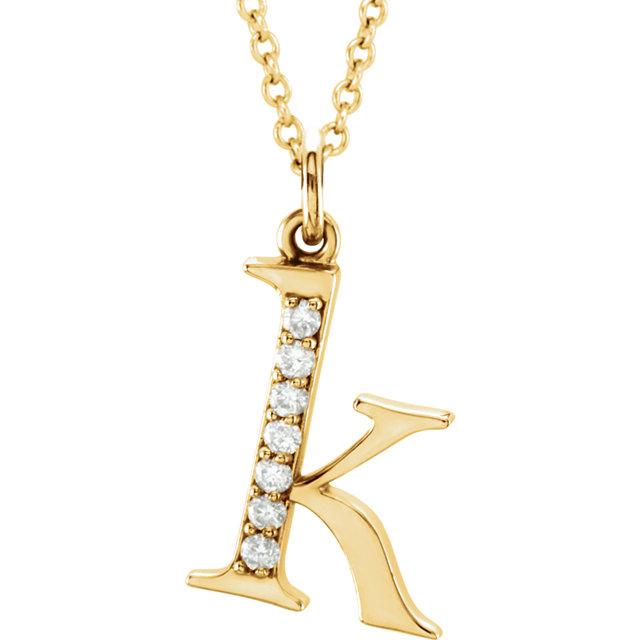 14K Yellow .04 CTW Diamond Lowercase Letter