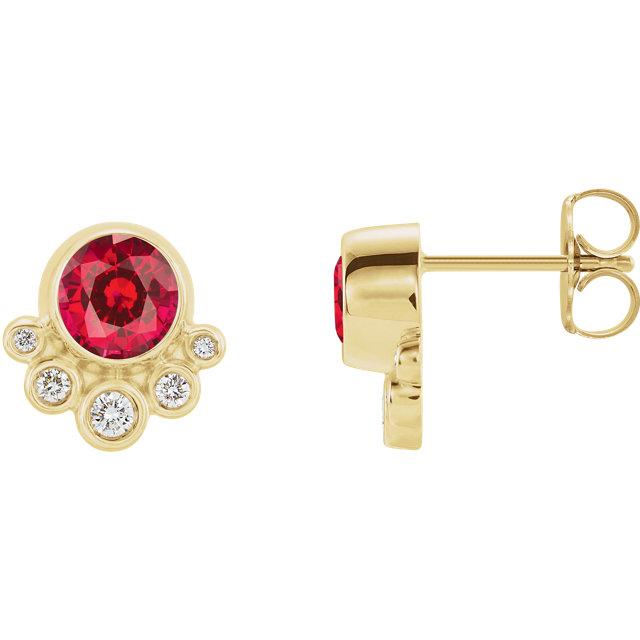 14K Yellow Chatham® Created Ruby & 1/8 CTW Diamond Earrings