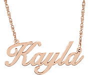14K Rose Script Nameplate Necklace
