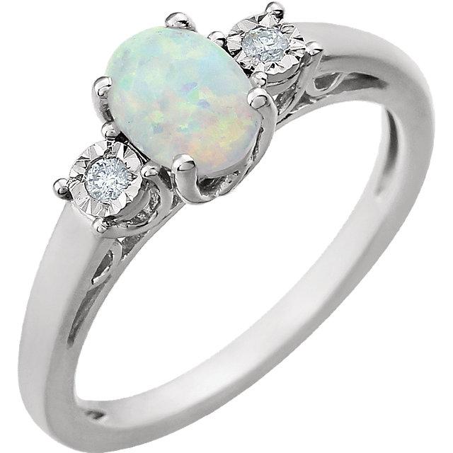 14K White Created Opal & .04 CTW Diamond Ring