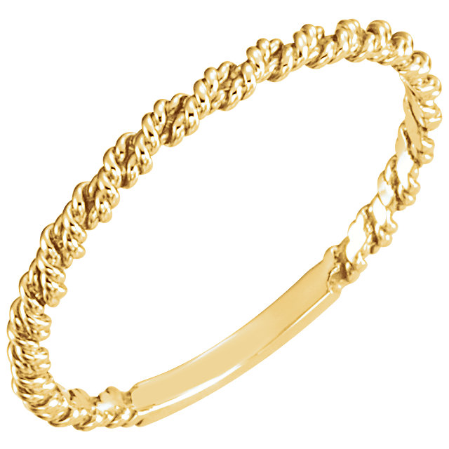 14K Yellow 2mm Twisted Rope Band