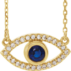 Necklace / Chain , Accented Evil Eye Necklace or Center