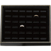 Black Paper Tray with Velvet-Lined Ring Pad