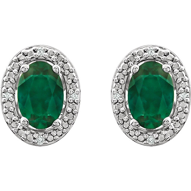 Sterling Silver Created Emerald & .025 CTW Diamond Earrings