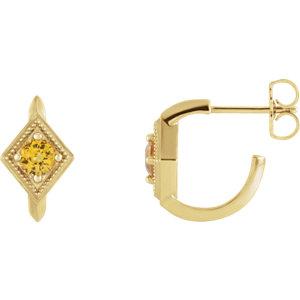 2033fba30c16f 14K Yellow Sapphire Geometric J-Hoop Earrings | Stuller