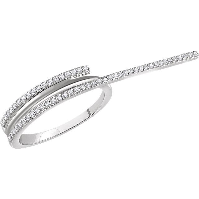 14K White 1/4 CTW Diamond Two-Finger Ring