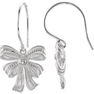 Earrings , 14K Yellow Vintage-Style Bow Design Earrings
