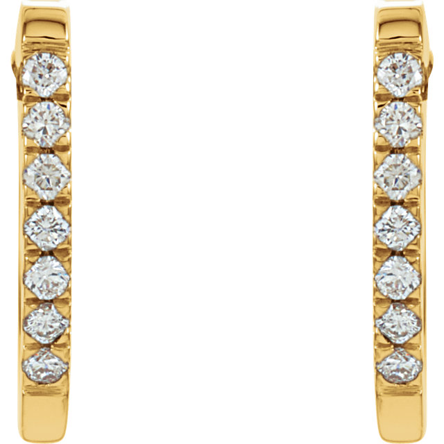 14K Yellow 1/5 CTW Diamond Hoop Earrings