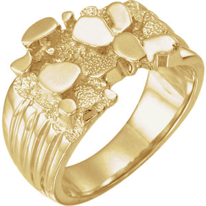 Fashion Rings , 10K Yellow Men's Solid Nugget Ring