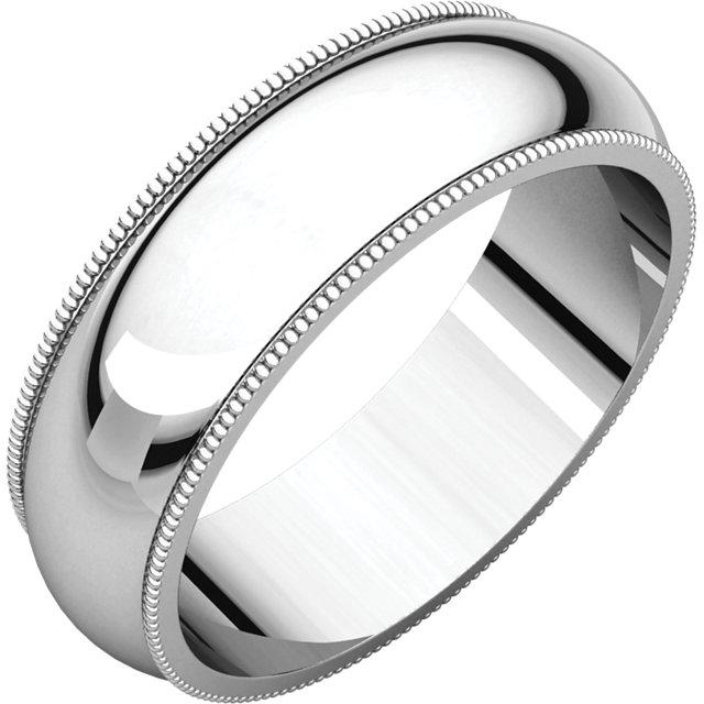 14K White 6 mm Milgrain Band
