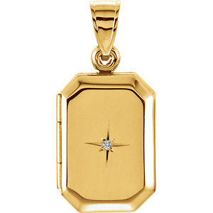 14K Yellow .01 CT Diamond Locket