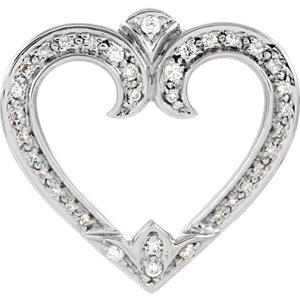 14K White 1/4 CTW Diamond Heart Pendant Slide