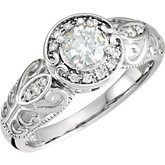 Charles & Colvard Moissanite® & Diamond Engagement Ring