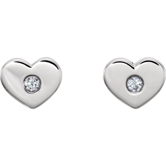 14K White .06 CTW Diamond Heart Earrings