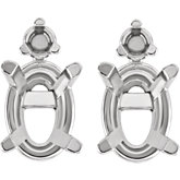 Oval 4-Prong Lightweight Accented Earring Mounting
