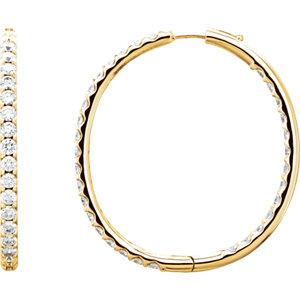 14K Yellow 5 CTW Diamond Inside/Outside Hoop Earrings