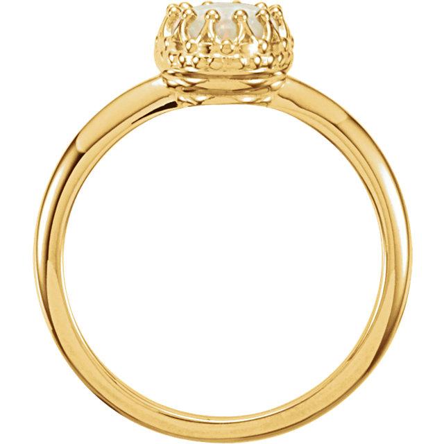14K Yellow Opal Crown Ring