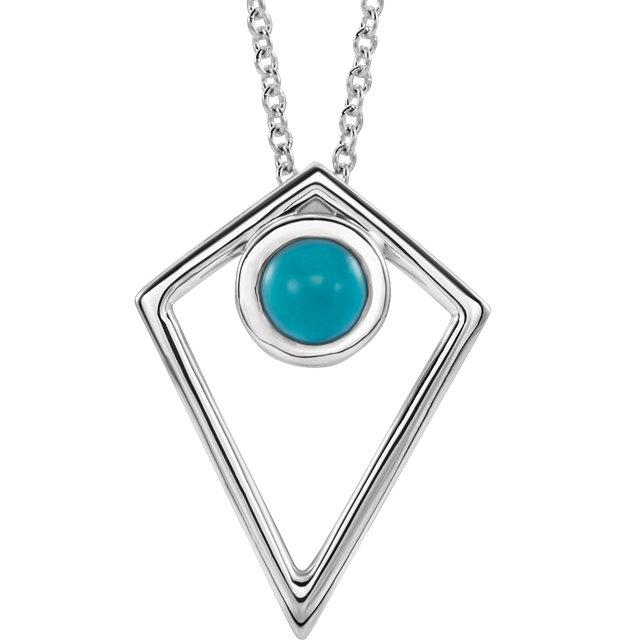 14K White Turquoise Cabochon Pyramid 16-18