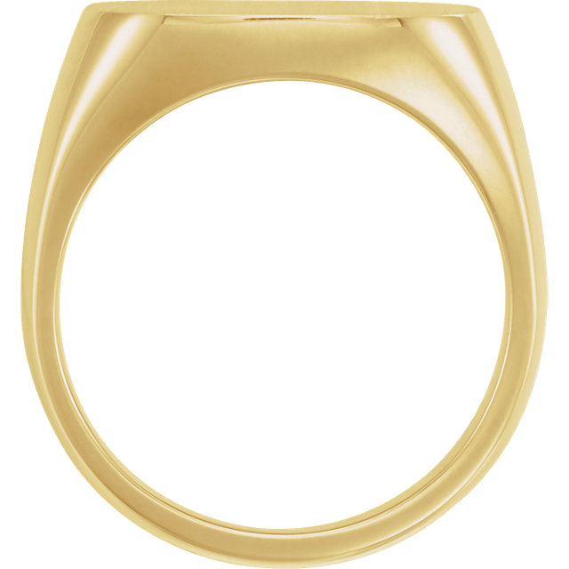14K Yellow 18 mm Square Signet Ring