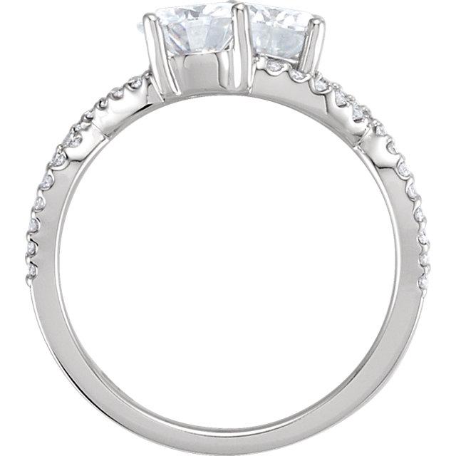 14K White 6mm Forever One™ Moissanite & 1/5 CTW Diamond Ring