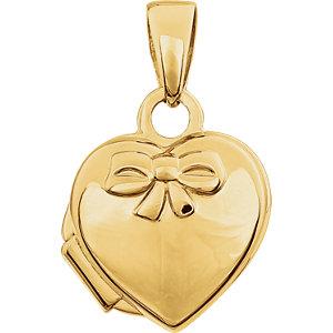14K Yellow Heart Embossed Bow Locket