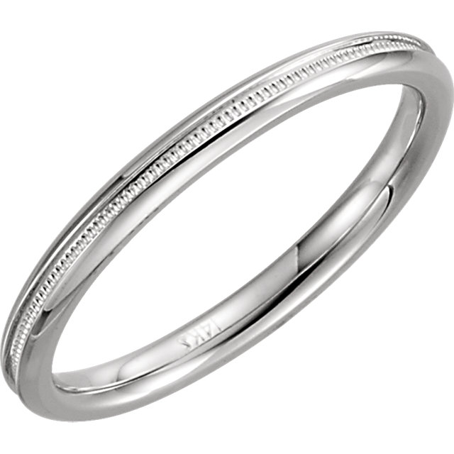 14K White 2mm Comfort Fit Milgrain Band Size 7