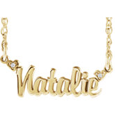 Accented Script Nameplate Necklace