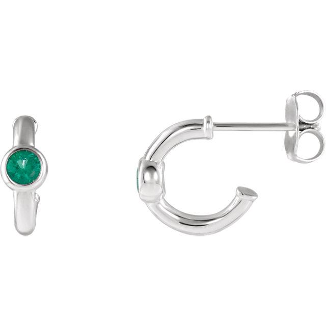 14K White Emerald J-Hoop Earrings