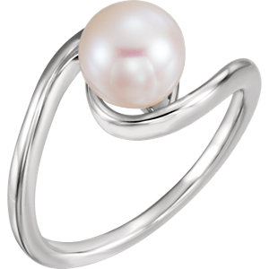 14K White 8mm Freshwater Cultured Pearl Ring